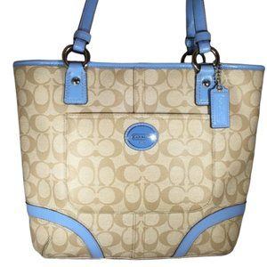 Coach Peyton Heritage Tote Sky Blue Leather